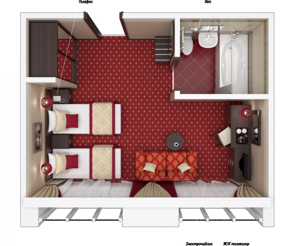 гостиниц, спланировать комнату по моей картинке меняет
